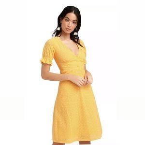 Lulus Good To Be Me Golden Yellow Eyelet Dress, S.